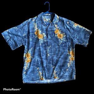 XL Pierre Cardin blue Hawaiian/tropical shirt